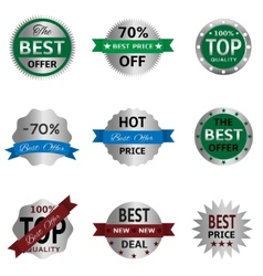 Silver badges and labels vector