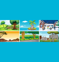 Six scenes with different locations vector