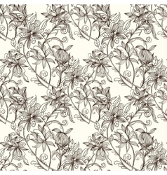 Sketch zentangle seamless floral pattern vector