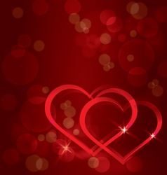 Sparkling hearts background vector image