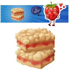 strawberry crumb bars pastry vector image