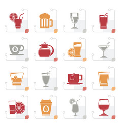 stylized drinks and beverages icons vector image vector image