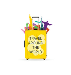 travel yellow bag with symbols vector image