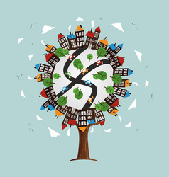 Tree with city landscape skyline and houses vector