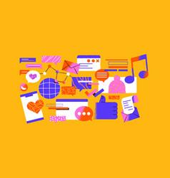 trendy social media network cartoon icon set vector image