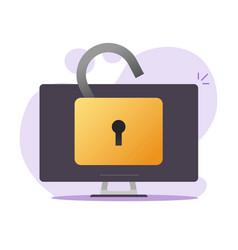 Unlocked desktop computer or pc with open padlock vector