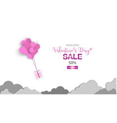 valentines day with heart balloon gift box vector image