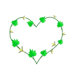 Vine Flower and Leaves in Beautiful Heart Shape vector