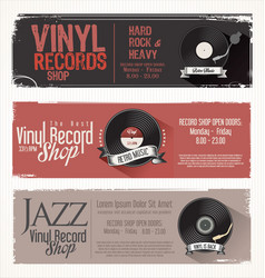 Vinyl record shop retro grunge banner 4 vector