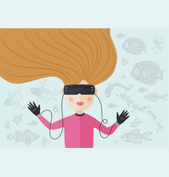 virtual reality card vector image