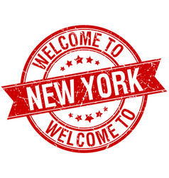 Welcome to new york red round ribbon stamp vector