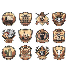 wild west icons set western signs vector image