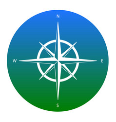 wind rose sign white icon in bluish vector image