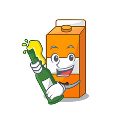 with beer package juice mascot cartoon vector image