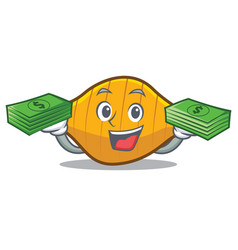 With money conchiglie pasta mascot cartoon vector