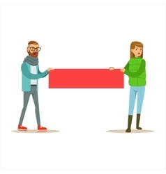 Young Hipster Couple Marching In Protest With vector