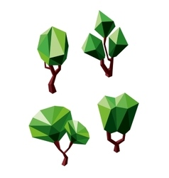 Abstract polygonal green trees icons vector image