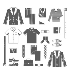 Business Man Clothes Icons Set vector image
