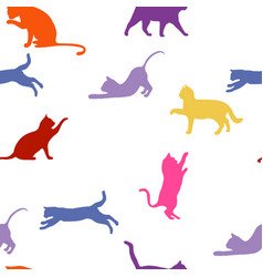 cats seamless baby background with colour cats vector image