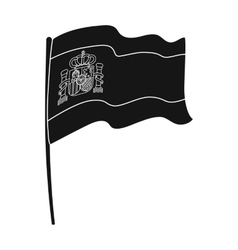 Flag of Spain icon in black style isolated on vector image vector image