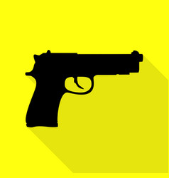 gun sign black icon with flat style vector image vector image