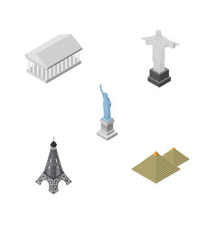isometric cities set of new york paris athens vector image