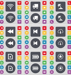 Wi-fi truck palm rewind media skip cloud file vector
