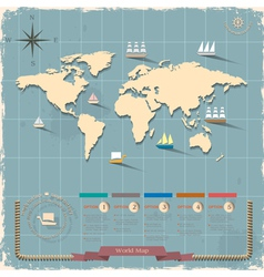 World map in retro style design vector image vector image