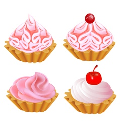 a set of pink cake vector image