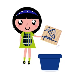 girl recycle paper box vector image