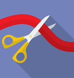 Icon of Scissors Cutting the Ribbon Flat style vector image vector image