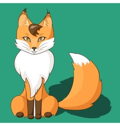 Orange fox sitting isolated on neutral background vector image vector image