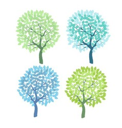 Set of the decorative colorful trees vector image vector image