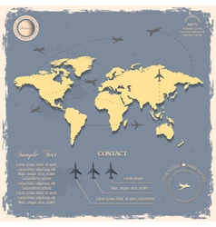 World map with aircrafts for design in vintage vector image