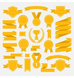 Yellow ribbons set I vector image vector image