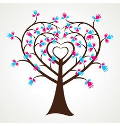 abstract heart shape hand tree vector image