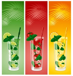 refreshing mojito cocktails vector image vector image