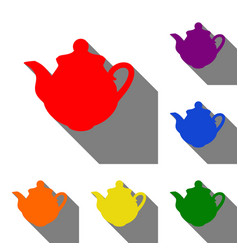 tea maker kitchen sign set of red orange yellow vector image
