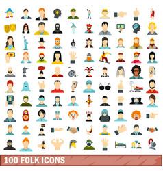 100 folk icons set flat style vector