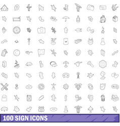 100 sign icons set outline style vector image