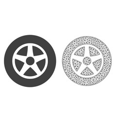 2d mesh car wheel and flat icon vector