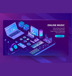 3d isometric site of listening music vector