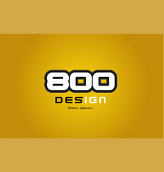 800 number numeral digit white on yellow vector