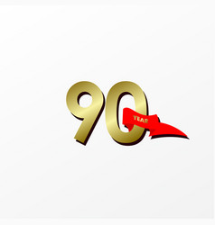 90 years anniversary celebration gold with red vector