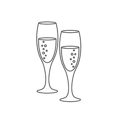 a glass of champagne icons vector image