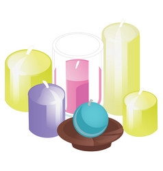 A set of candles of different shapes isolated vector