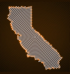 Abstract map california glowing radial dots vector