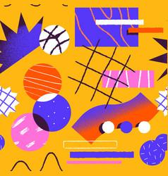 Abstract retro fun cartoon shape seamless pattern vector
