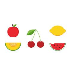 apple melon cherry lemon and watermelon fruits vector image