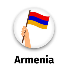 armenia flag in hand round icon vector image